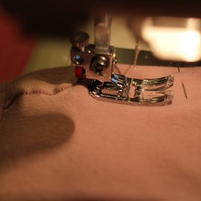 Twin needle sewing in progress